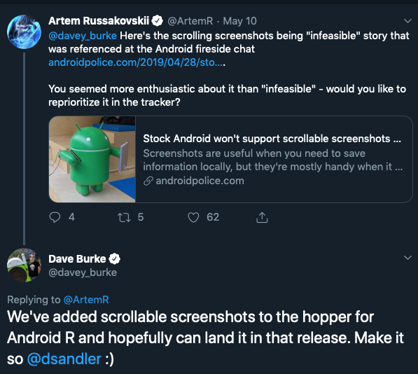 Android R scrolling screenshots