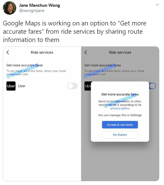 Google Maps route-opties