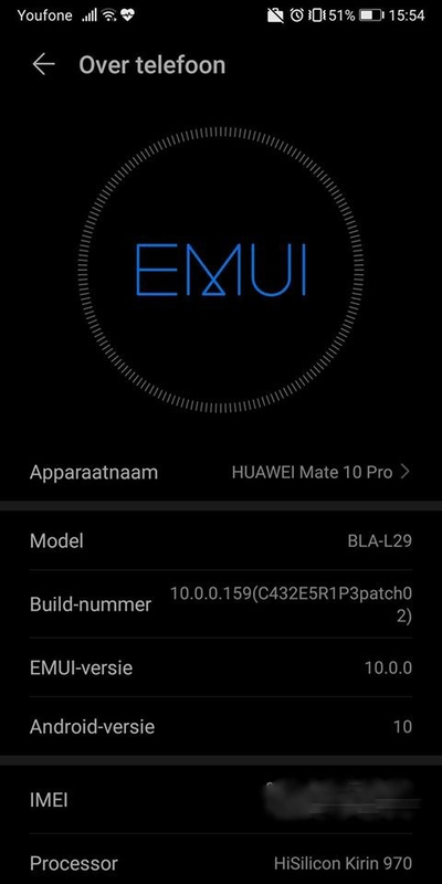 Huawei Mate 10 Pro Android 10