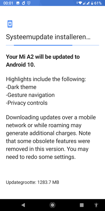 Android 10-update Mi A2