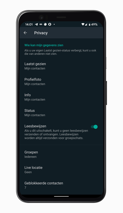 WhatsApp privacy-instellingen