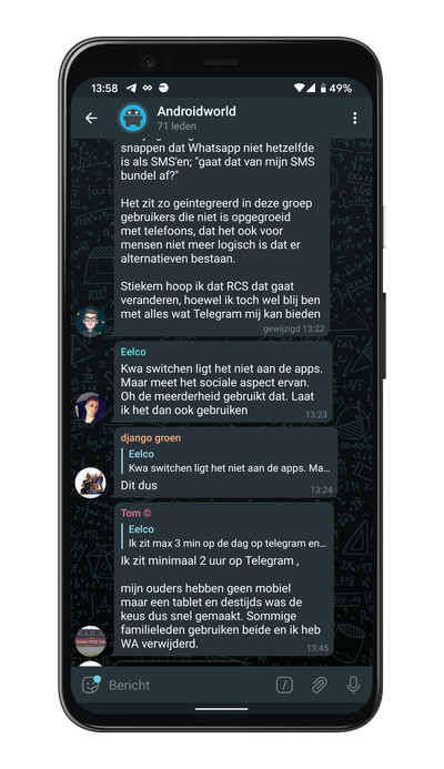 Screenshot van Telegram