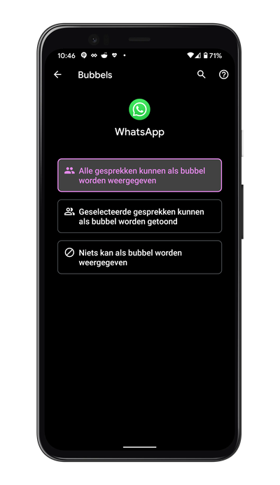 WhatsApp bubbels Android 11