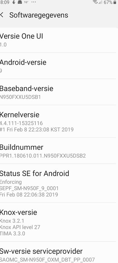 Samsung Galaxy Note 8 Android Pie